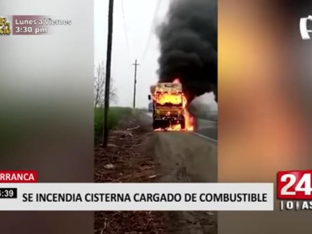 Camión cisterna cargado de combustible se incendió en Barranca