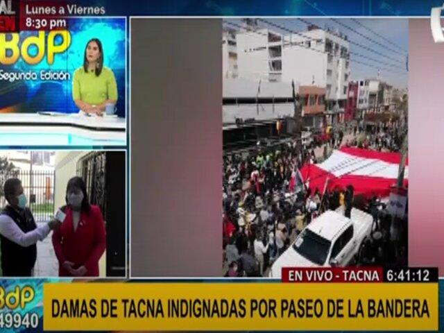 Damas de Tacna indignadas por paseo de la bandera realizado de manera desordenada y sin protocolos