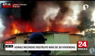 Piura: incendio arrasa con más de 30 casas en asentamiento humano
