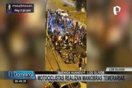 Los Olivos: Motociclistas extranjeros realizan maniobras temerarias en pleno toque de queda