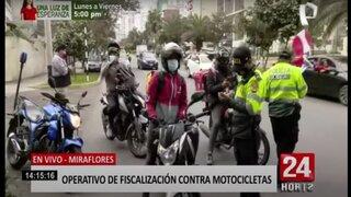 Miraflores: realizan operativos a motociclistas ante constantes asaltos