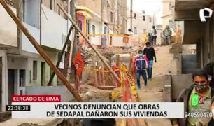Cercado de Lima: vecinos denuncia que obras de Sedapal dañaron sus viviendas