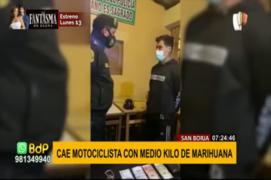 San Borja: cae motociclista con medio kilo de marihuana