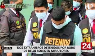 Detienen a dos delincuentes que robaron costoso Rolex en restaurante de Miraflores