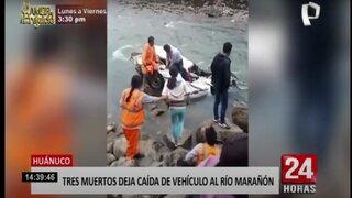 Huánuco: tres obreros mueren tras despiste de vehículo al río Marañón
