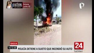 Amazonas: detienen a sujeto que incendió su auto y portaba un arma