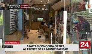 Miraflores: roban óptica frente a la municipalidad