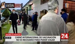 Covid-19: certificado internacional de vacunación no es necesario para poder viajar