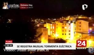 Puno: inusual tormenta eléctrica causó temor entre población