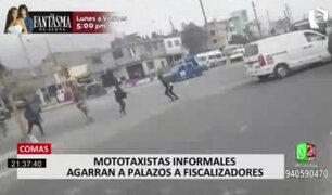 Comas: mototaxistas informales agarran a palazos a fiscalizadores
