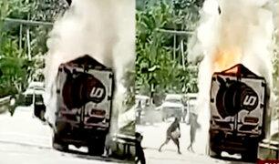 Chanchamayo: sacan agua de río para apagar incendio en camión de carga