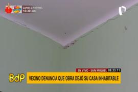 San Miguel: vecino denuncia que obra de empresa inmobiliaria dejó su casa inhabitable