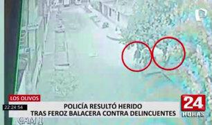 Los Olivos: tiroteo durante asalto a dos policías deja un agente herido