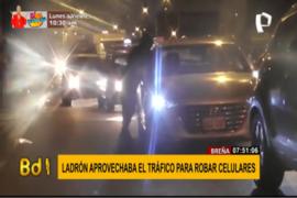 Breña: ladrón aprovechaba el tráfico para robar celulares