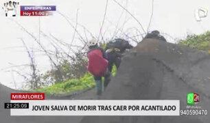 Miraflores: rescatan a hombre que cayó de acantilado