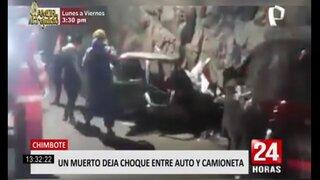 Chimbote: un muerto deja choque entre un auto y una camioneta