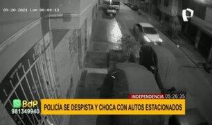 Independencia: policía presuntamente ebrio despista auto y choca contra tres vehículos