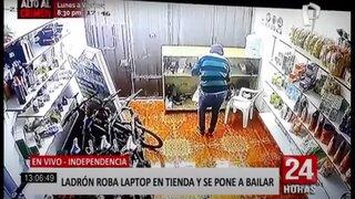 Independencia: ladrón roba laptop y se pone a bailar