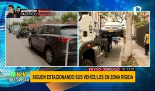 Autos estacionados en zona rígida de Surquillo: conductores aseguran contar con permiso de municipalidad