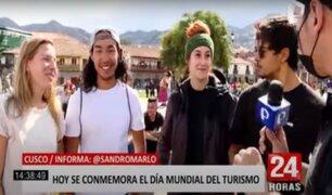 Turistas extranjeros y nacionales visitan Cusco en el Día Internacional del Turismo