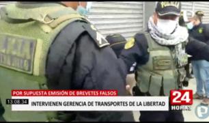 La Libertad: intervienen Gerencia Regional de Transportes por presunta emisión de brevetes falsos