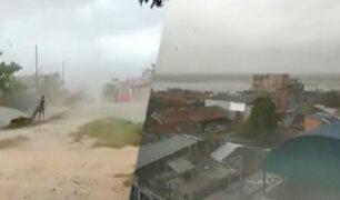 Vientos huracanados en Pucallpa ocasionan el naufragio de una embarcación