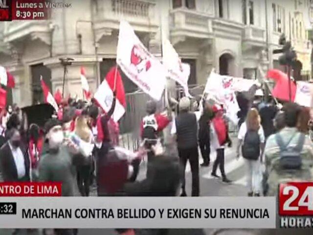 Manifestantes marchan contra Guido Bellido y piden su renuncia