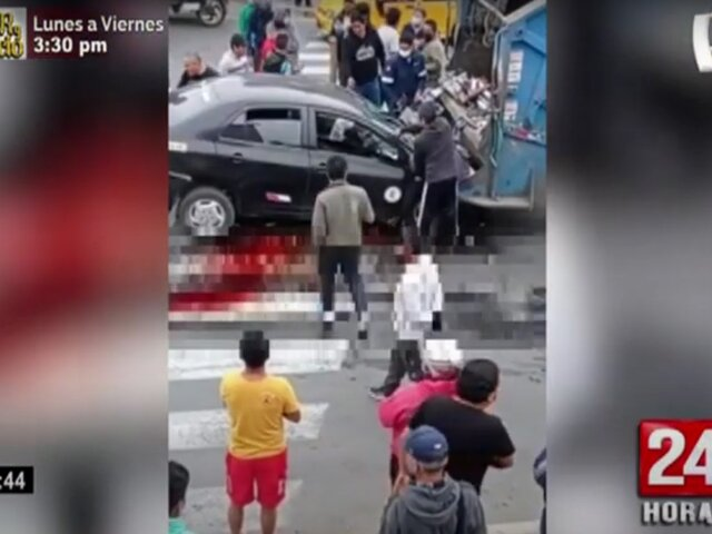 Chimbote: auto choca contra compactador de basura y deja a tres heridos
