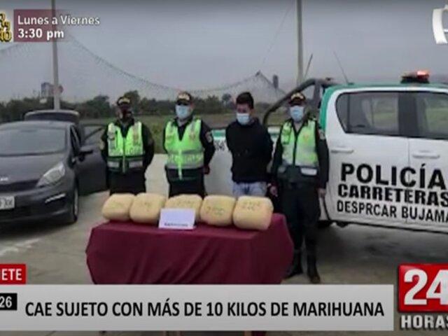 Cañete: intervienen a sujeto con más de 10 kilos de marihuana