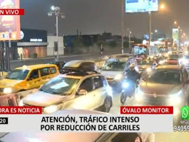 Óvalo Monitor: reportan tráfico intenso por reducción de carriles en Av. Javier Prado