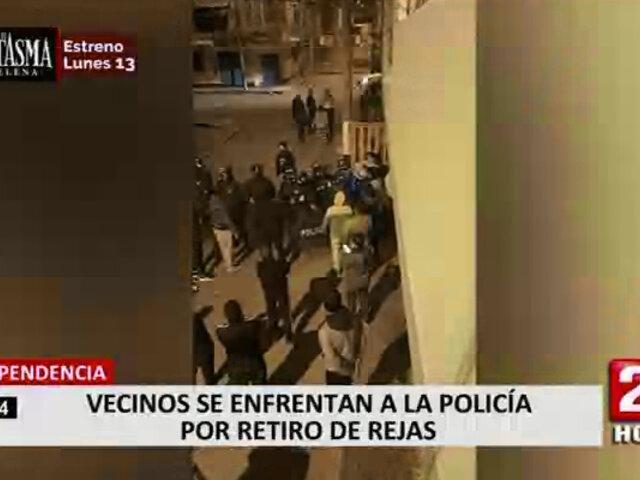 Independencia: vecinos se enfrentan a serenazgo y policías por retiro de rejas