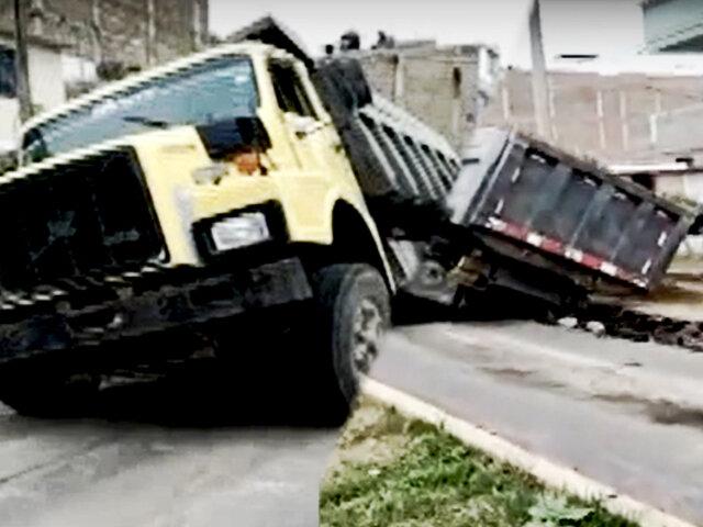 Trujillo: pesado volquete que trasladaba arena terminó hundido en pista