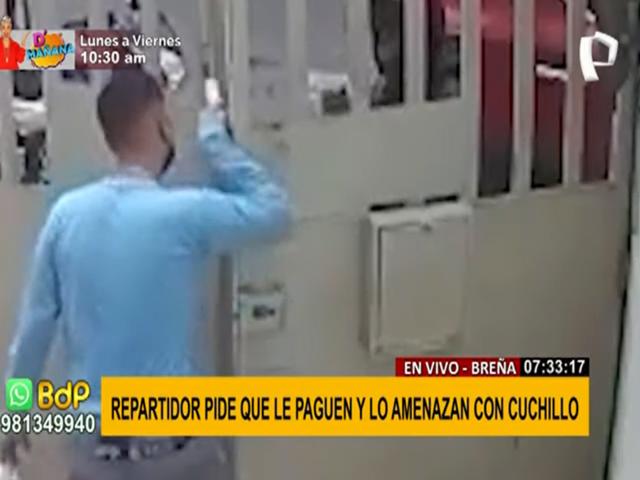 Breña: repartidor pide que le paguen y lo amenazan con cuchillo
