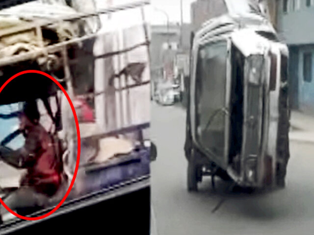 ¡Increíble! reciclador cargó auto en la tolva de una motocarga