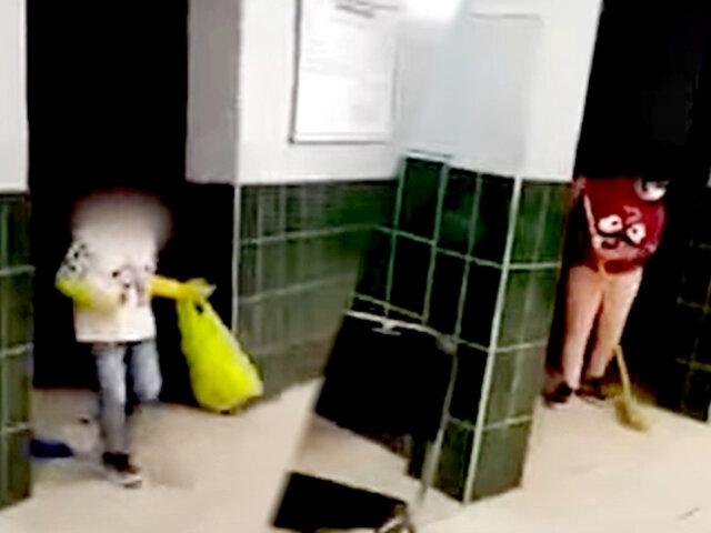 Graban a niño limpiando comisaría de madrugada: caso se encuentra en investigación