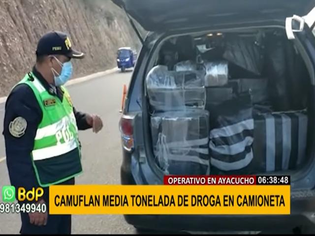 Ayacucho: camuflan más de media tonelada de droga en una camioneta