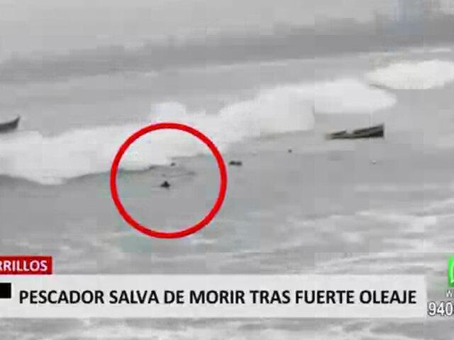 Chorrillos: pescador casi pierde la vida por fuerte oleaje