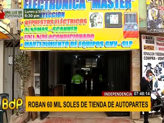 Independencia: roban 60 mil soles de tienda de autopartes