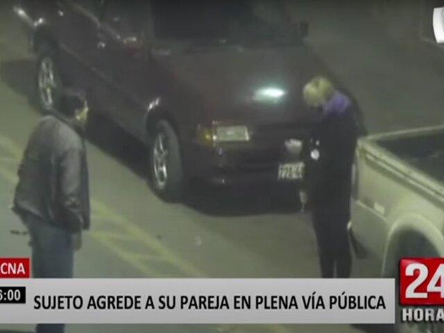 Tacna: sujeto agrede a su pareja en plena vía pública