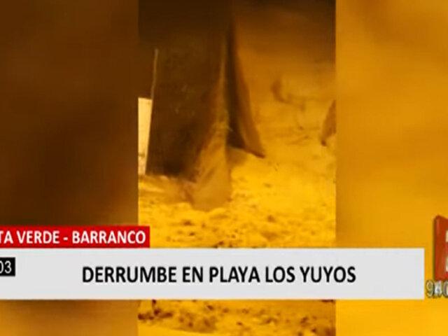 Barranco: derrumbe de un pedazo del acantilado de la Costa Verde destruyó la geomalla