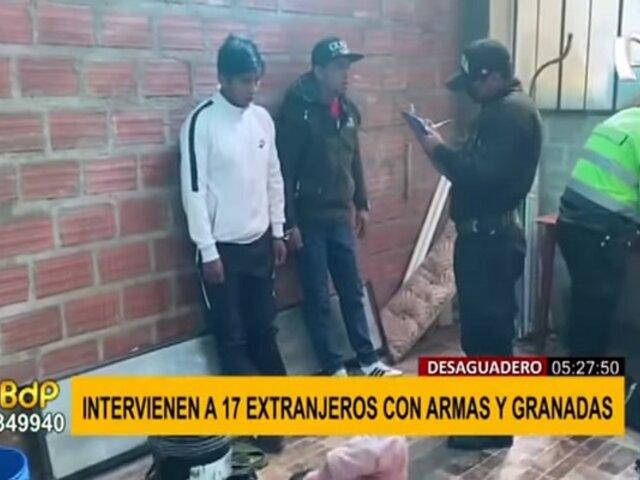 Desaguadero: intervienen a 17 extranjeros con armas y granadas de guerra
