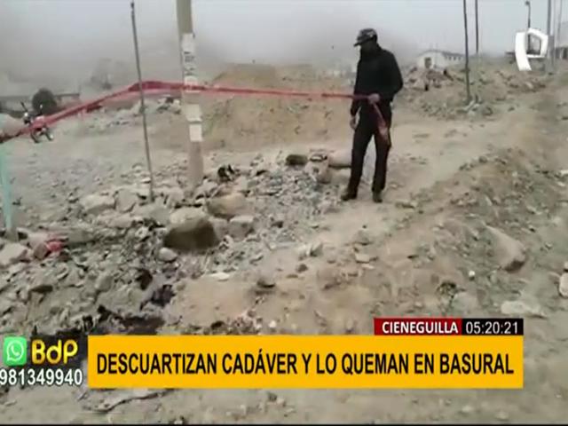 Cieneguilla: hallan restos humanos quemados en basural