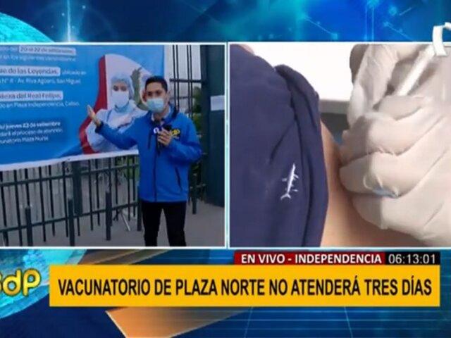 Plaza Norte: suspenden vacunación contra la covid-19 en centro comercial por tres días