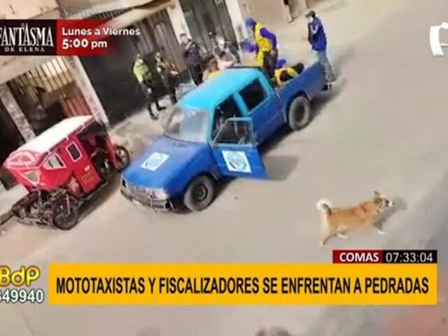 Comas: Mototaxistas y fiscalizadores se enfrentaron a palazos durante operativo