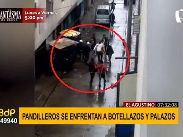 El Agustino: sujetos se enfrentan a botellazos por control de calle en San Jacinto