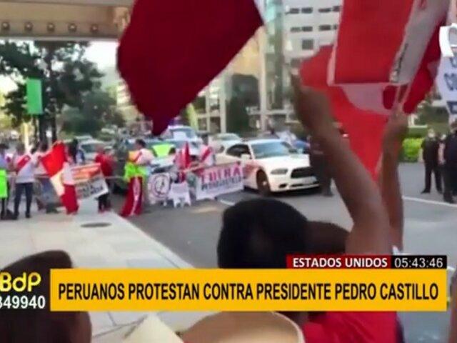 Pedro Castillo: peruanos en EEUU protestaron a favor y en contra de presidente