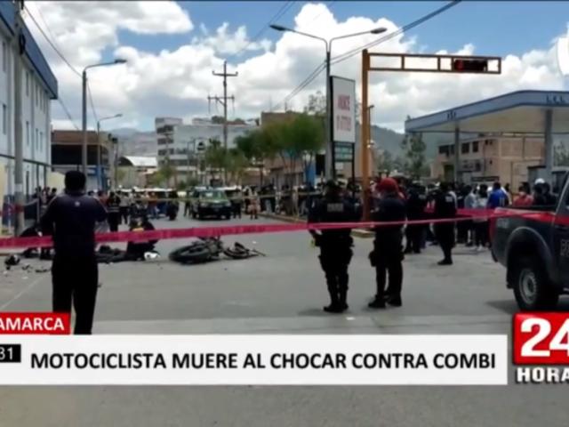 Cajamarca: motociclista murió tras terrible choque contra combi