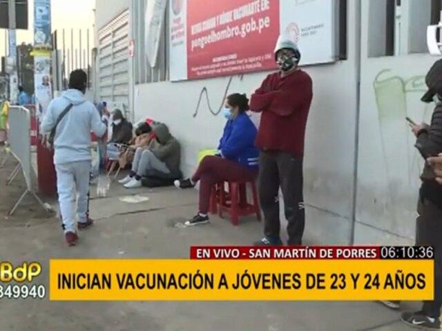 Inicia vacunación de personas de 23 años: este es el panorama en vacunatorio de SMP
