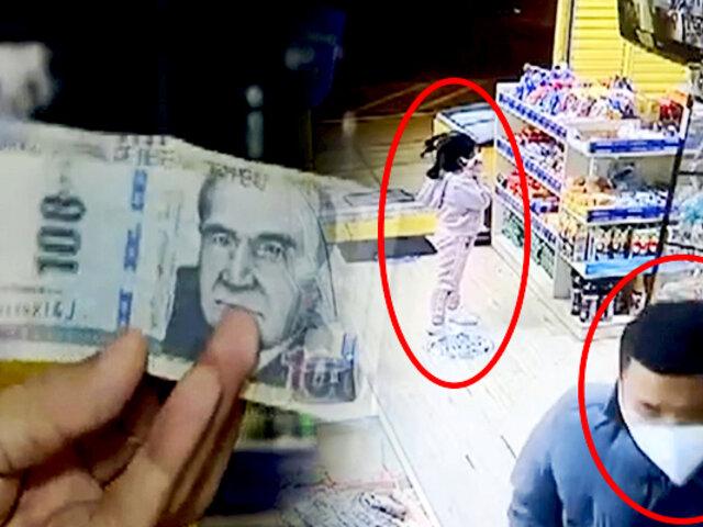 Lince: mafia de estafadores roban en negocio con billetes falsos de S/.100