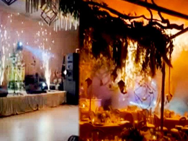 Fuegos artificiales convierten emotiva boda en un infierno
